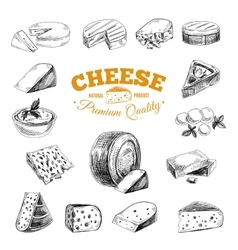 Hand drawn with cheeses vector