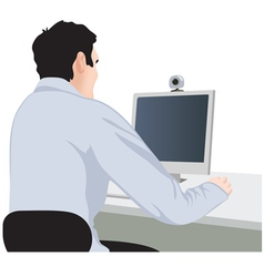 man and computer vector image