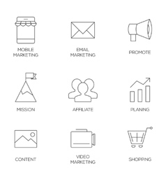 Business marketing outline icons vector