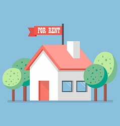 House for rent flat icon vector