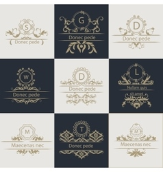 Set patterns leaflets ornamental logo vector