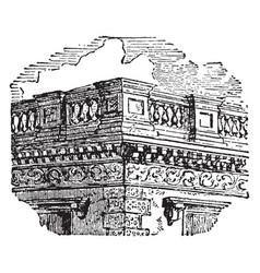 balustrade lathe-turned vintage engraving vector image vector image