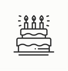 birthday cake pie with candles icon happy vector image vector image