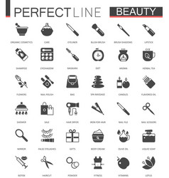 black classic web icons set beauty and cosmetics vector image vector image