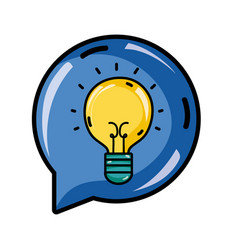 Bulb idea inside chat bubble message vector