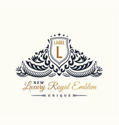 Calligraphic luxury line flourishes elegant emblem vector