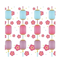 Chinese lanters and flowers decorations vector