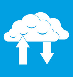 Clouds with arrows icon white vector