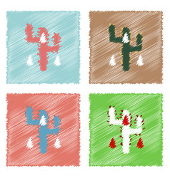 Collection of flat shading style icons cactus and vector
