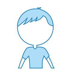 Cute blue upper body man cartoon vector
