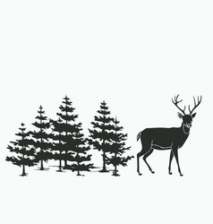 Deer in the woods vector