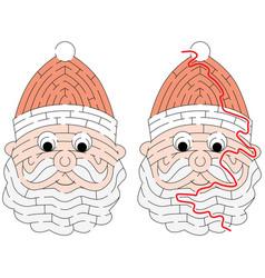 easy santa claus maze vector image