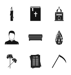 Funeral services icons set simple style vector