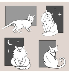 Funny cats sketches set three vector image