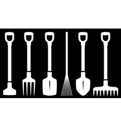 Garden tools white set vector