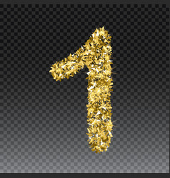 gold glittering number one shining golden vector image