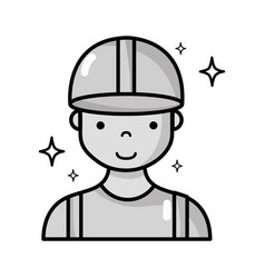 Grayscale profesional man worker with cap and vector