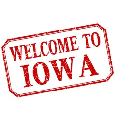 Iowa - welcome red vintage isolated label vector