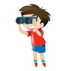 little boy using binocular vector image