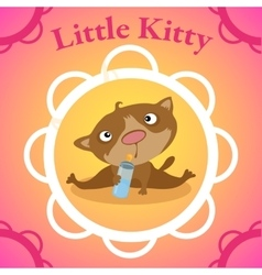 Little kitten with baby bottle in circle frame vector image vector image