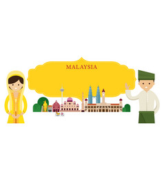 Malaysia landmarks people in traditional clothing vector