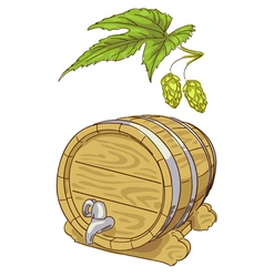 Old wooden barrel and hop branch vector image