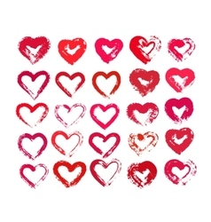 Painted Hearts from Grunge Brush Strokes vector image vector image