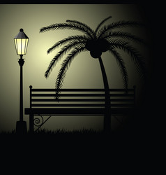 Park bench empty with palm vector