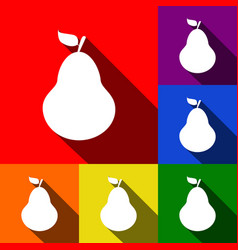 Pear sign set of icons with vector