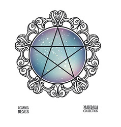 Pentagram with space background and mandala frame vector