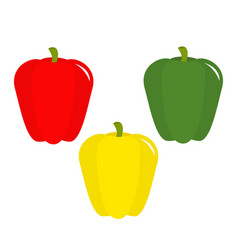 pepper icon yellow red green color vegetable vector image vector image