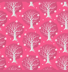pink seamless pattern with trees vector image
