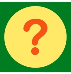 Question flat orange and yellow colors round vector