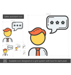 Sales assistant line icon vector