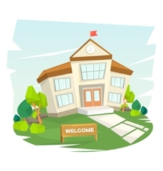 School building Welcome to school vector image