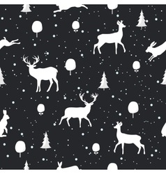 Seamless christmas pattern with deer and rabbit vector
