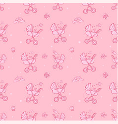Seamless monochrome pink pattern with cute baby vector