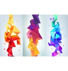 Set of faceted 3d crystal colorful shapes vector