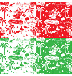 Set of seamless patterns with small retro travel vector