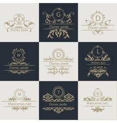 Set patterns leaflets ornamental logo vector image