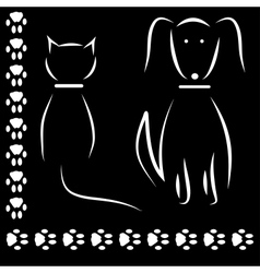 Silhouette cat dog footprints vector image