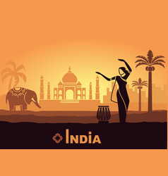Stylized landscape of india with the taj mahal an vector