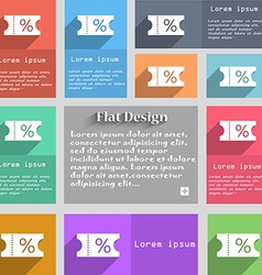 ticket discount icon sign Set of multicolored vector image