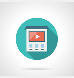 videos on building wall flat round icon vector image vector image