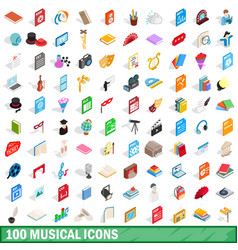 100 musical icons set isometric 3d style vector image