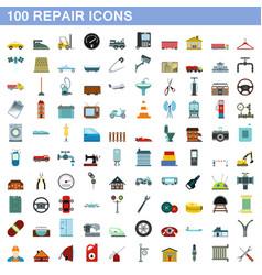 100 repair icons set flat style vector