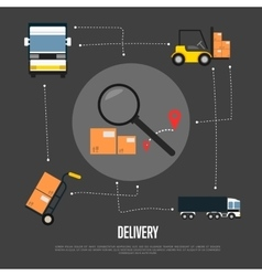 Delivery and freight shipment flowchart vector