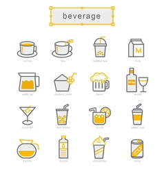 Thin line icons set beverage vector