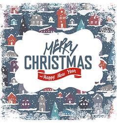 Merry Christmas VIntage Tag Design On Planks vector image