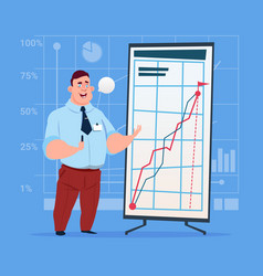 Business man with flip chart seminar training vector